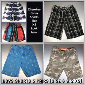 Lot of Boys Shorts; 3 Size 6 & 2 XS Swim Trunks